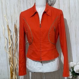 Worth Orange Peplum Jacket Size 6